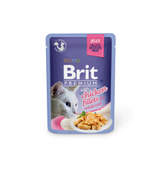 BRIT PREMIUM DELICATE FILLETS IN JELLY WITH CHICKEN 85G KATĖMS