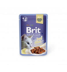 BRIT PREMIUM DELICATE FILLETS IN JELLY WITH BEEF 85G KATĖMS