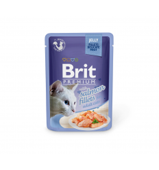 BRIT PREMIUM DELICATE FILLETS IN JELLY WITH SALMON 85G KATĖMS