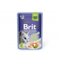BRIT PREMIUM DELICATE FILLETS IN JELLY WITH TROUT 85G KATĖMS
